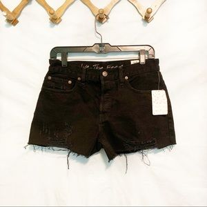 Free People We The Free Black Distressed Shorts